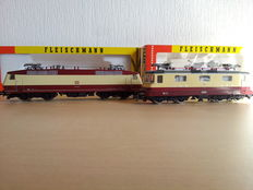 "Fleischmann H0 - 4341 / 4350 - 2x ""TEE"" E-locs: BR Re 4/4 II of the SBB & BR 120.0 of the DB"