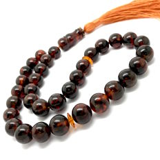 Islamic prayer beads of cognac coloured Baltic amber, Ø 11.5 mm, weight: 32.5 grams