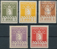 Greenland 1915 - package stamps - Facit P4III, P5III, P6II, P8I, P9VI