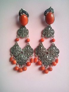 Silver earrings with coral, sapphires and rubies