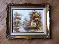 Hut in a wooded area in a gold plated Baroque frame, oil paint and pastel
