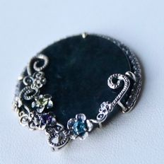 Beautiful, exclusive, extra large pendant made of first grade silver with black jade, ruby, blue topaz and peridot