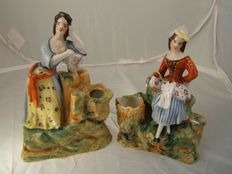 Vieux Paris - porcelain inkwells modelled as rustic maids