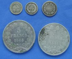 "France – ¼ franc, 25 and 50 centimes,, 5 francs ""Louis Philippe I"" 1832/1846 (5 different ones) – Silver"