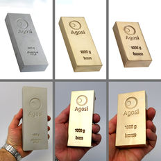 Investment package - 3 piece 1 kg of precious metals - Agosi - 1 kg brass bar - 1 kg aluminium bar - 1 kg bronze bar