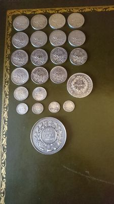 "France - 50 centimes 50 francs (lot of 22 coins) & 1 medal ""Ville de Marseille"" - silver"
