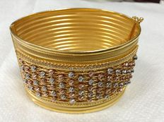 Bangle  bracelet , 22k gold and zirconium