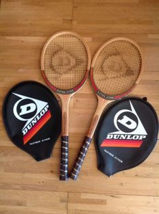 England Tennis  - 2 Dunlop wooden Racquets  - McEnroe Junior - Met Cover original tension and grip.