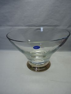 Bowl in transparent Murano glass with silver base