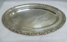 Oval-shaped silver tray. Spain. 20th century