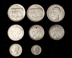 Belgium – 50 centimes through 100 Francs 1863/1960 (8 pieces) – silver