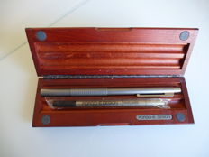 1980s Porsche Design Titanium ballpoint pen and Fine liner in original wooden box and papers