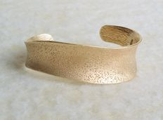 "Charles Garnier United States Solid Silver ""18kt Gold Plated Constellation Collection"" Wave Cuff Bracelet"