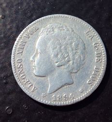 Spain – 1 peseta Alfonso XIII – Madrid 1894 **18-9* – Visible stars – Very nice coin in this condition