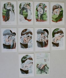 Reprint; 10 erotic postcards depicting the first wedding night - second half of the 20th century