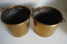 3 copper buckets with handle-ca. 2nd half of 19th century