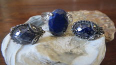 Silver set of ear studs/marcasites & ring with diamond set with Afghan Lapis Lazuli.