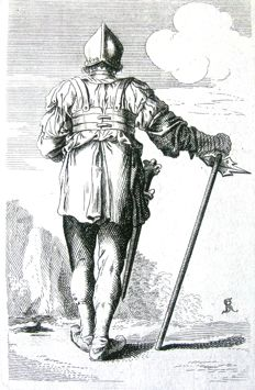 Unknown engraver after Salvator Rosa - Soldier seen from his back - 18th century