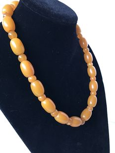 Antique Butterscotch pressed Baltic Amber necklace barrel shaped beads, 57 grams