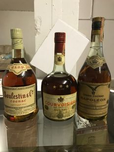 3 Bottles of Cognac - Boulestin V.S.O.P. & Courvoisier *** & J. Rullaud-Larret Grand Cognac Napoléon - Bottled 1970s