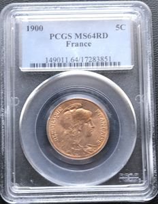 France – 5 Centimes 'Dupuis' 1900 – PCGS MS64RD