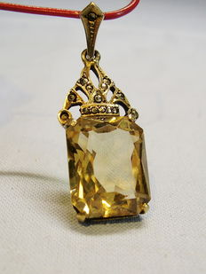 Pendant with citrine and marcasites
