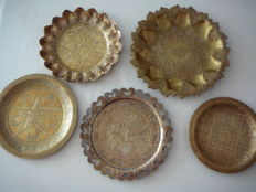 Lot of 5 Different hand-forged brass platters