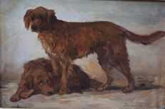 Henriette Ronner - Knip (1821-1909) - portrait of two dogs