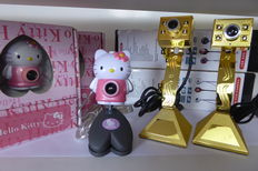 2 x gold-look webcams and 2 Kitty webcams