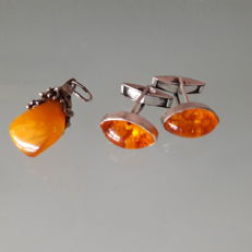 Baltic butterscotch amber pendant, 925 silver and 'Fischland' amber cufflinks (also silver)