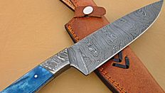 Best quality Handmade Damascus Steel Chef Knife – Solid Colored Bone Handle with Damascus Steel Bolsters.