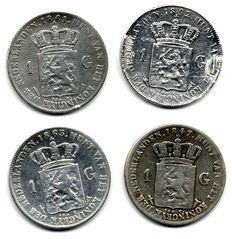 The Netherlands – 1 guilder coin 1847, 1861, 1863 and 1892 Willem II and Wilhelmina – silver