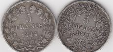 France - 5 Francs 1844-W & 1870-A (lot of 2 coins) - Silver