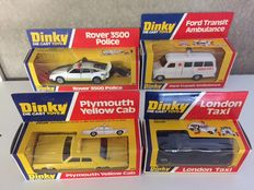 Dinky Toys - Scale 1/36-1/43- Lot with Rover 3500 Police No.264, Ford Transit Ambulance No.276, Plymouth Yellow Cab No.278 and London Taxi No.284
