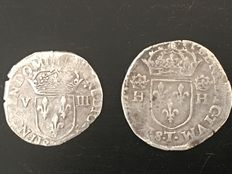France – Henri III – 1/8 Ecu 1582 & Teston from Nantes (lot of 2 coins) – Silver