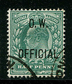 Great Britain 1902/1903 – Half penny blue-green Office of Works – Stanley Gibbons O36