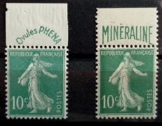 France 1924/1926 - The Sowers Minéraline and Phéna, signed JF Brun – Yvert 188 and 188A