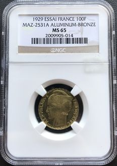 France – 100 Francs 'Bazor' 1929 Proof – NGC MS65