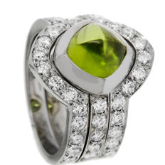 Saddal - 'Dolce' white gold women's ring with Peridot and diamonds