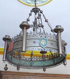 Authentic Church chandelier in copper and brass with crest ornaments - Belgium - 19th century