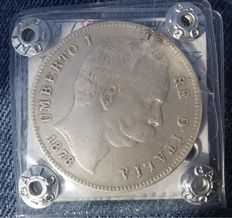 Kingdom of Italy – 5 Lire, Umberto I – SIlver.