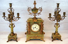 Antique French Onyx clock with two candlesticks with gold plated metal mounts, approx. 1880