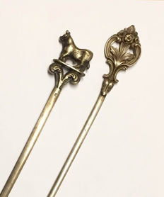Christofle - Antique silver plated meat skewers