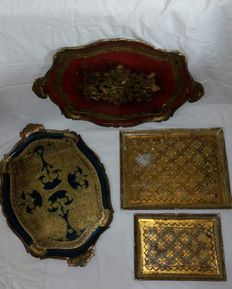Four Venetians trays from the late twentieth century Italy