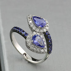 Beautiful tanzanite brilliant ring 1.70ct in 750 white gold *NO RESERVE PRICE!*