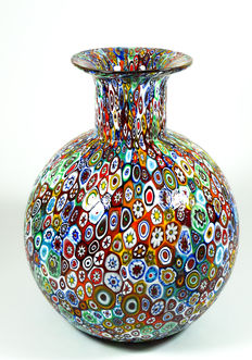 Campanella (Campanella Livio) - big ball-shaped vase of the series Murrina Millefiori (25 cm)