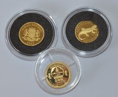 World - Somalia (30 shillings 2003), Mongolia (500 Togrog 2003), Ukraine (2 Hryvni 2003) - 1/25 oz (x3) gold