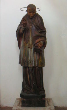 A carved and polychrome wooden sculpture depicting St. Alphonsus Liguori - second half 19th century