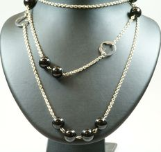 Silver necklace and bracelet with black beads