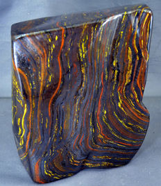 Self -standing, multi-coloured, polished Tiger's Eye Tumble - 165 x 145 x 73 mm - 4649gm